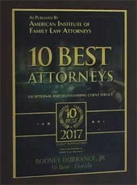 As Published By American Institute Of Family Law Attorneys | 10 Best Attorneys | Exceptional And Outstanding Client Service | 10 Best 2017 | Rodney L. Durrance Jr. | 10 Best Florida